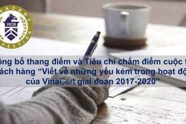 """Công bố thang điểm và tiêu chí chấm điểm cuộc thi: """"Viết về những yếu kém trong hoạt động của VinaCert giai đoạn 2017-2020"""""""